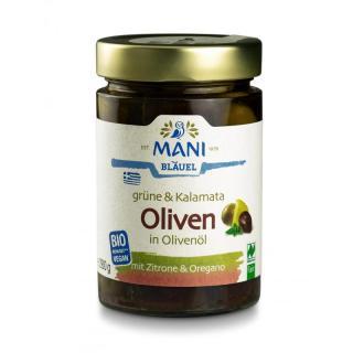 BIO Grüne & Kalamata Oliven in Olivenöl